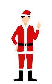 人差し指を立てる(指さし)サンタクロース姿の男性