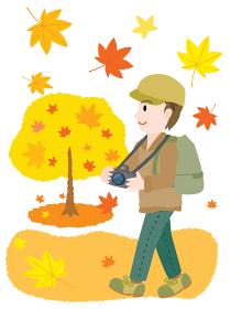 紅葉狩りをする男性のイラスト