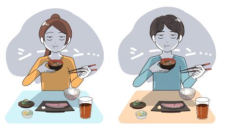 1人でご飯を食べる 左利き