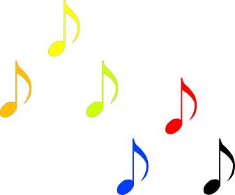 カラフルな可愛い音符