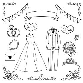 結婚式のイラストセット モノクロ