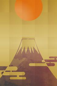 汎用年賀状デザイン イラスト金箔背景初日の出と墨絵の富士山 和風テイスト迎春令和New Year's