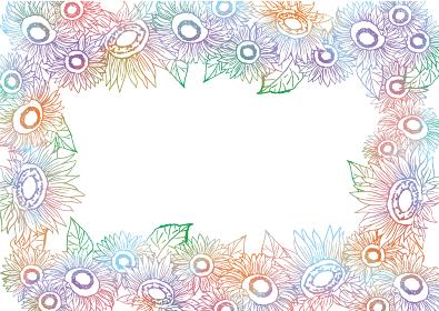 水彩のひまわりの花畑 手描き 線画 ライン 水彩 おしゃれ