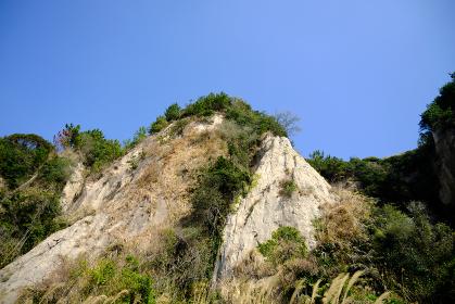 下から見上げた崖の風景