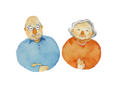 笑顔の老夫婦 シニア 人物 水彩 イラスト