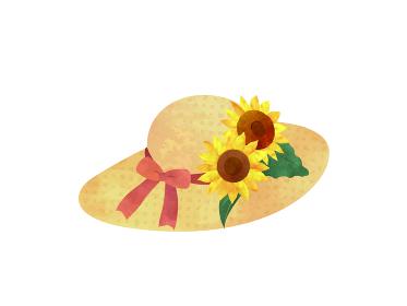 ヒマワリと麦わら帽子