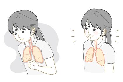 不健康な肺、健康な肺の女の子