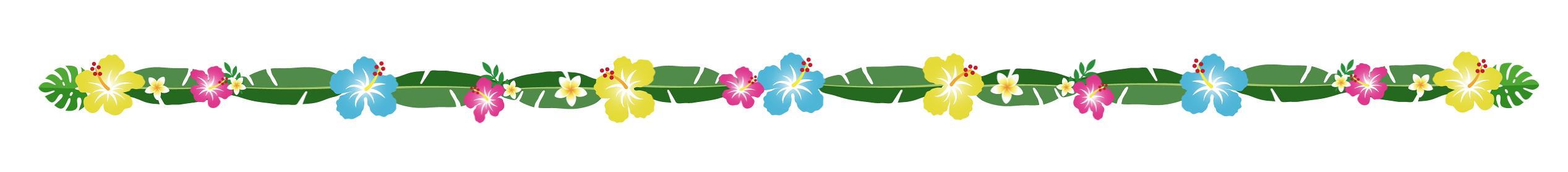 南国の葉と花の装飾、ライン、区切り線 隙間なし(No.3)