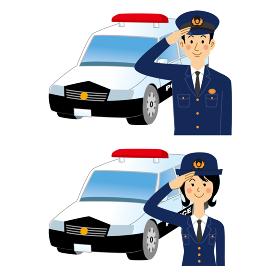 敬礼する警察官とパトカー