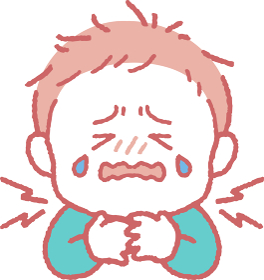 首/喉が痛い男の子のイラスト