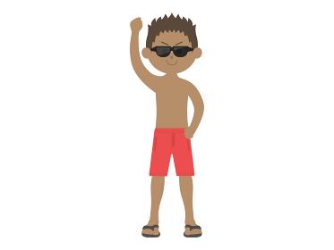 サングラスを掛けて片手を上げる水着男性のイラスト