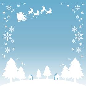 クリスマス サンタクロースと夜空のシルエット