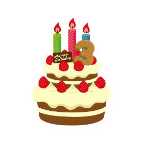 誕生日・バースデーケーキ イラスト ( 3歳)