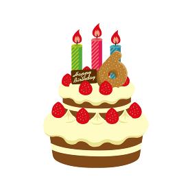 誕生日・バースデーケーキ イラスト ( 6歳)