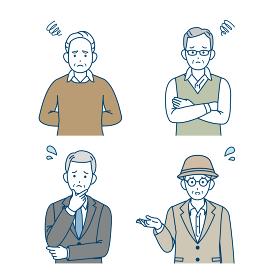 年配の男性 シニア 高齢者 人々 困る 悩む 不満 ポーズ 仕草 セット イラスト素材