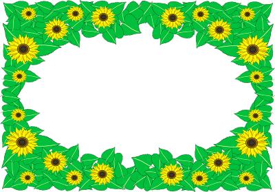 可愛い向日葵の窓枠