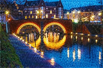 眼鏡橋の灯り