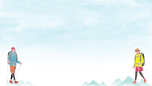登山 山 空 風景 人物 背景 フレーム 水彩 イラスト 横長