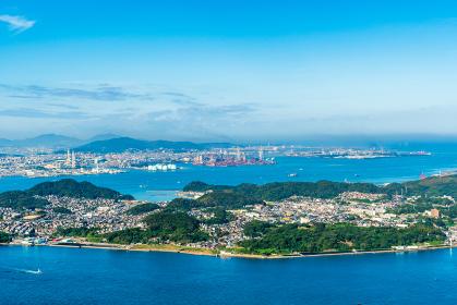 風師山展望台から望む関門海峡の眺め(福岡県、山口県)