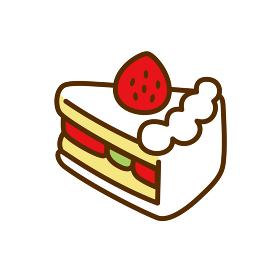 かわいいイチゴショートケーキのイラスト