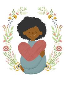花のフレームをバックに大きなハートを抱いた若い黒人女性