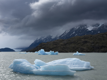 Icebergs at a lake in Torres del Paine National Park in Patagonia
