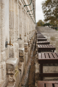 water taps for traditional muslim foot wash near Suleymaniye Mosque