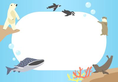 海の生き物のフレーム 横向き
