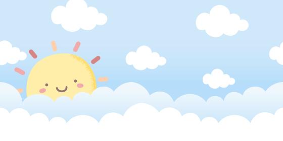太陽と雲、晴れた空のシームレスな背景素材