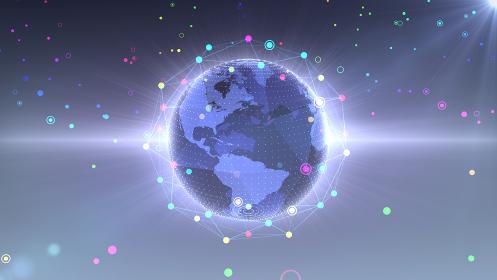地球 宇宙 世界 ワールド デジタル ネットワーク テクノロジー 3D イラスト