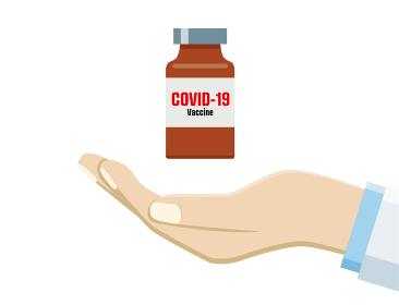 イラスト医師の手の上に新型コロナウィルスのワクチンcovid-19医療