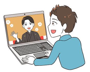 オンライン成人式を見る 袴 男性