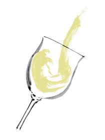 手描きのグラスに注いでいる白ワインのイラスト素材