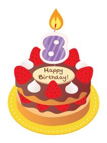 8歳のキャンドルをのせた苺とチョコのお誕生日ケーキ