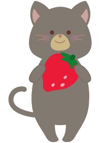 イチゴを持つネコのイラスト