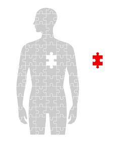 人のフォルムのパズルと心臓部分