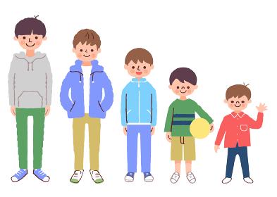 年齢の違う男の子5人