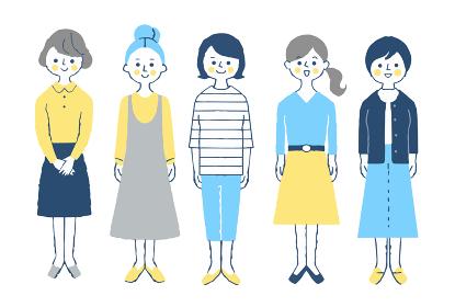 女性5人 全身