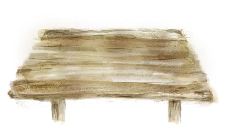 木のテーブル正面斜め上からの手描きイラスト 手描きの背景素材