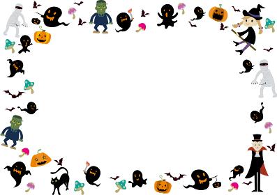 HALLOWEENの水彩風背景素材 墓地 城 不気味 夜 かぼちゃ