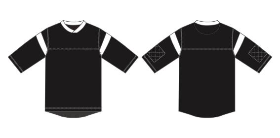 アパレルテンプレート / 七分丈カットソー(アイスホッケーシャツ) べクターイラスト