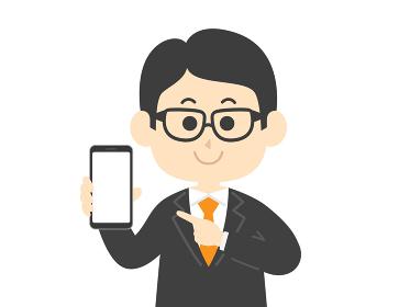 スマートフォンの画面を見せる男性のイラスト