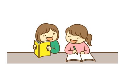 友達と一緒に仲良く勉強をする子供のイラスト