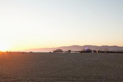Santa Monica Beach and pier, Los Angeles County, California, USA