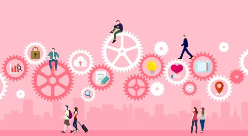 ギア・歯車と人々の日常 (IT・テクノロジー・ビジネスイメージ)ベクターバナーイラスト