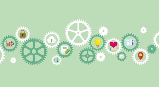ギア・歯車とアイコン (IT・テクノロジー・ビジネスイメージ)ベクターバナーイラスト