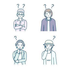 年配の女性 シニア 高齢者 人々 考える 疑問 ? ポーズ 仕草 イラスト素材