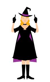 ハロウィンの仮装、魔女姿の女性が両手で指さしをするポーズ