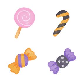 色鉛筆で手描き風 ハロウィンのお菓子イラストセット(キャンディ)