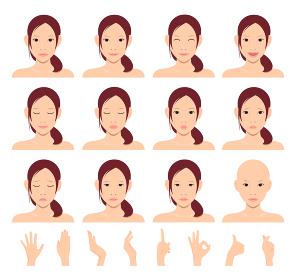 若い日本人女性モデル 上半身イラストセット(美容・フェイスケア)/ 手のジェスチャーセット